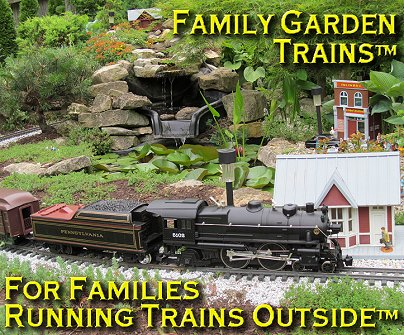 Family Garden Trains. This is New Boston in June, 2013, at an open railroad for the held in conjunction with the 2013 National Garden Railway Confention. Click for bigger photo.